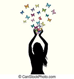 Abstract illustration of a woman silhouette with butterflies flying from her hands