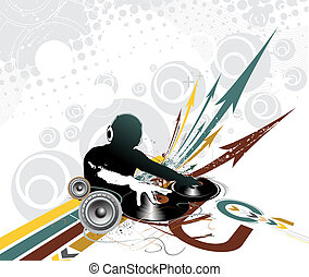 Abstract illustration of an dj man playing tunes with musis note backgroud.