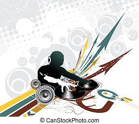 dj man playing tunes - Abstract illustration of an dj man...
