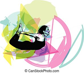 Beautiful sporty fit yogini woman practices yoga