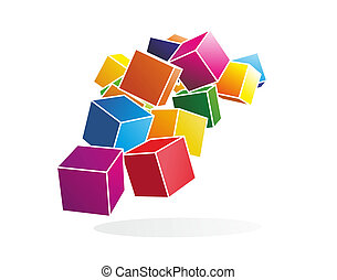 cubes - abstract illustration of colorful and floating cubes