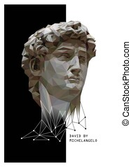 Abstract Illustration of David by Michelangelo. Black and...