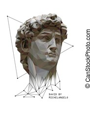Abstract Illustration of David by Michelangelo. Low poly...