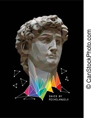 Abstract Illustration of David by Michelangelo with colorful...