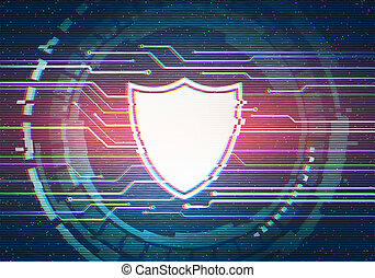Abstract illustration of distorted display screen with shield icon