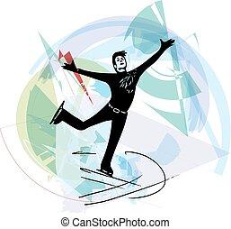 abstract illustration of man ice skater skating at colorful sports arena