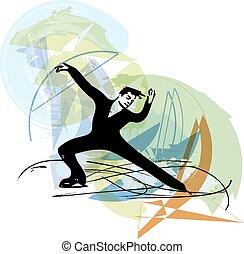 man ice skater skating at colorful sports arena - abstract ...