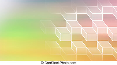 Abstract illustration of multiple 3d geometrical cube shapes against gradient yellow and pink backgr