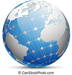 Abstract illustration of the planet Earth with a solar panel. Vector.