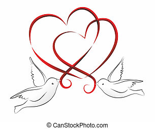 hearts - abstract illustration of two hearts and birds