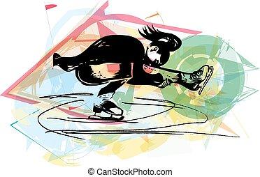 woman ice skater skating at colorful sports arena - abstract...
