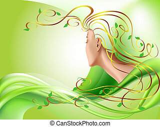 Abstract illustration of woman with gold hair and leaves