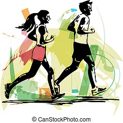 young fitness couple of man and woman jogging in park -...