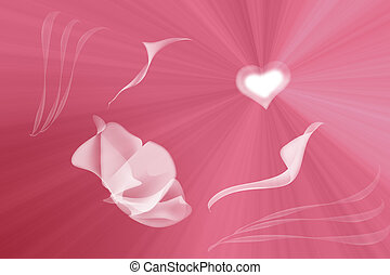 Abstract illustration on a pink background of flower, pulling its leaves-hands to heart, shining in the rays