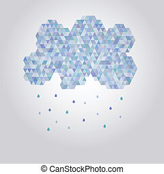 Abstract illustration polygonal cloud with rain drops
