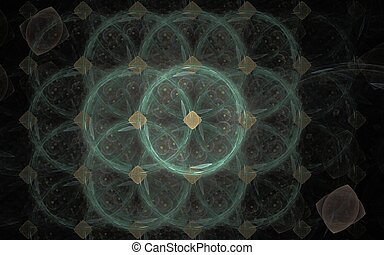 abstract illustration rendered fractal green circles with brown rhombus in the center on a black background