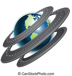 abstract illustration, ring of the roads around globe