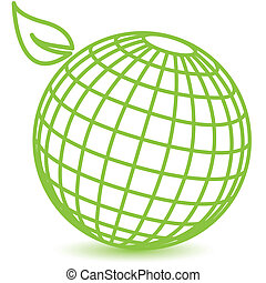 abstract illustration, schematic green globe on white background