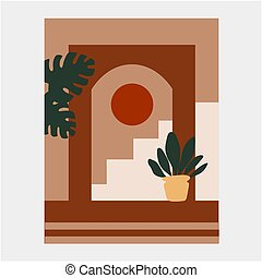 Abstract illustration with building, stairs and pots with plants.