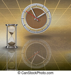 clock and hourglass on brown - abstract illustration with ...