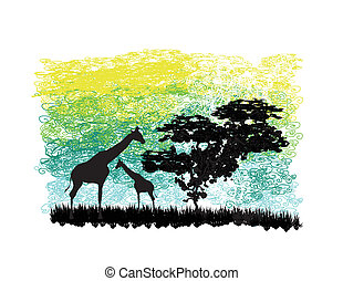 abstract illustration with giraffes and a tree