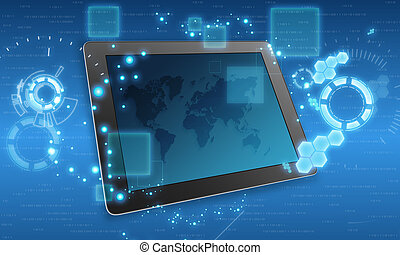 Abstract illustration with tablet and a map on the screen.