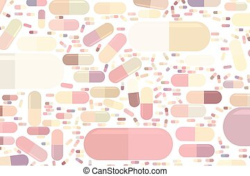 Abstract illustrations of capsules, medicine or pills, conceptual pattern.