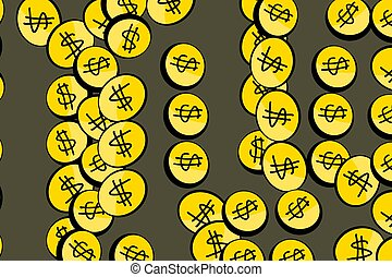 Abstract illustrations of money packs or bags, conceptual.