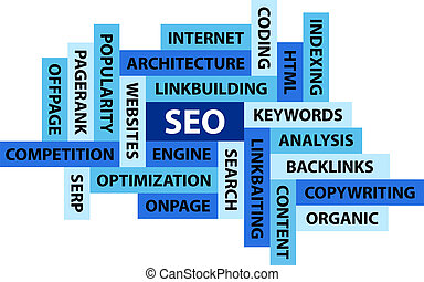 Abstract image composed from words related to SEO