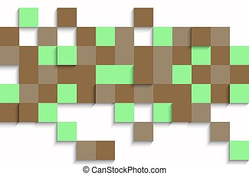 abstract image - abstract cubes background in brown green...