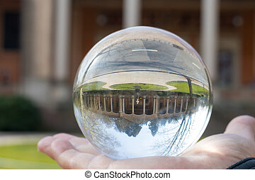 Abstract image of a city in a crystal ball
