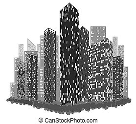 Abstract image of a city with luminous windows