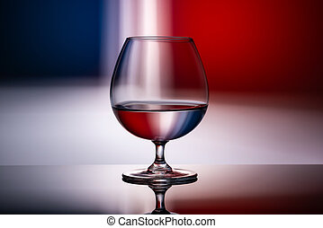 abstract image of a glass on a red-blue background