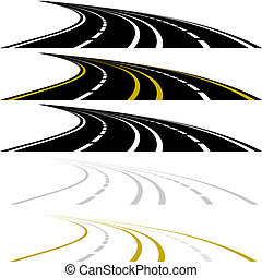 Abstract image of a highway. Highway with road markings. The illustration on a white background.