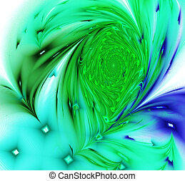 Abstract image of a peacock feather on white computer generated background