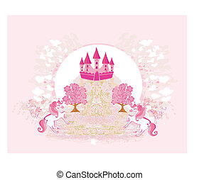 abstract image of a pink castle and unicorns
