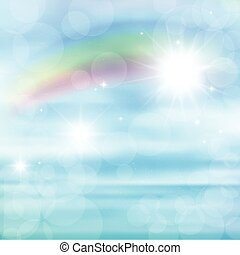 Abstract image of a rainbow on blue sky with sun glare.