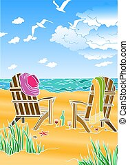Abstract image of a summer holiday on the beach.Vector