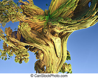 Abstract image of a trunk of an old tree. 3d rendering. Fractal