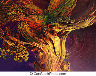Abstract image of a trunk of an old tree.  Fractal. 3D Illustration