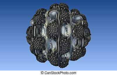 Abstract image of a virus cell, macro, closeup. 3d rendering