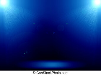 Abstract image of blue lighting flare 2 spotlight on the floor stage.