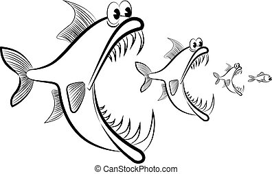 Abstract image of fish hunting each other