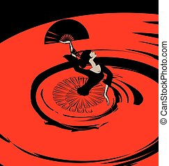 abstract image of flamenco with fan