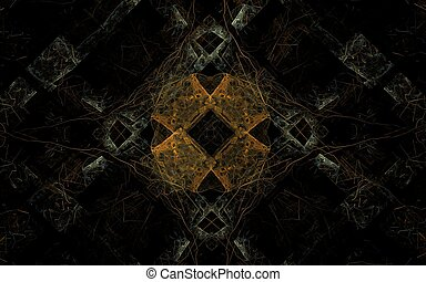 Abstract image of geometric shapes and shapes of various colors on a black background