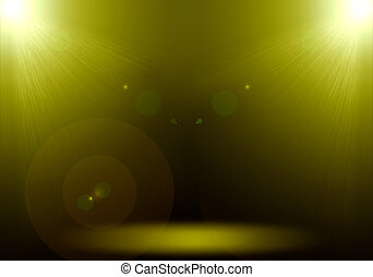 Abstract image of gold lighting flare 2 spotlight on the floor stage.