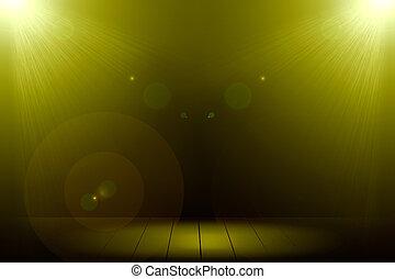 Abstract image of gold lighting flare 2 spotlight on wood floor