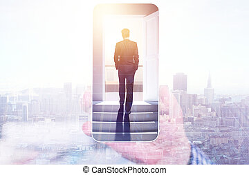 Success, technology and career concept