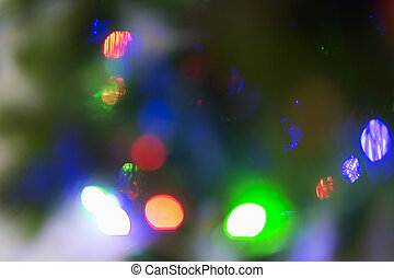 Abstract image of lights of a Christmas tree.