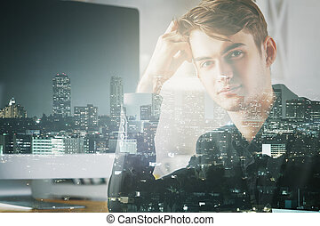 Abstract image of man at workplace